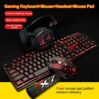 USB LED Backlight Wired Gaming Keyboard Mouse Mice Pad Headset Set For PC Mac