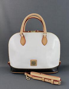 Dooney & Bourke NWT White Patent Leather Zip Zip Satchel Tote Bag $198