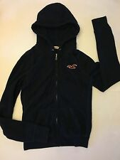 NWT HOLLISTER BETTYS MEDIUM WOMENS NAVY BLUE HOODIE ZIP UP SEAGULL WAFFLE LINED