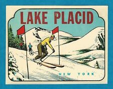 "VINTAGE ORIGINAL 1949 SOUVENIR ""LAKE PLACID"" NY DOWNHILL SKIER TRAVEL DECAL ART"