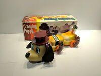 Rare Vintage Creeping Puppy Wind-up Tin Toy China w/ Original Box MS110
