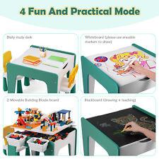 7-in-1 Kinder Multifunktionaler Spieltisch Set Bausteintisch mit Aufbewahrung DE