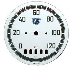 Compteur de vitesse feuille pour NSU-OSI 251 VEIGEL 120km/h, 75 mm neuf, Alu