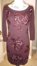 Gorgeous MONSOON Embellished Bodycon Jumper Dress Cotton Blend Size S