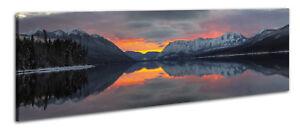 Panoramabild Leinwandbil Wandbild Sonnenuntergang See Berge Landschaft