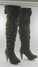 "Brown 4"" Stiletto High Heel Round Toe Long Sexy Over Knee Boots Size 8"