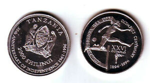Rare 1996 Tanzania Alum 2000 shillings Olympic Hurdles T1-Mintage 100