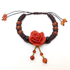 Bracelet macramé satin marron perles orange Rose en fimo Rouge Taille Ajustable