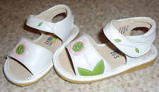 New White Leather W/Pink Flower Squeaker Sneakers Sandals Sz 7