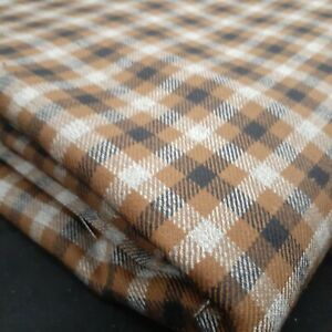 Vintage buffalo check plaid Fabric 2 yd 54 in upholstery black white brown
