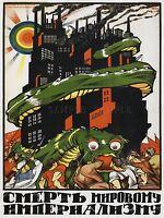 PROPAGANDA SOVIET UNION DEATH TO IMPERIALISM COMMUNISM VINTAGE POSTER 1958PYLV