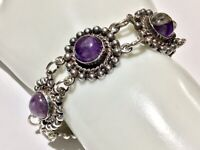 Vintage Early Mexico Sterling Silver & Purple Stone Link Bracelet