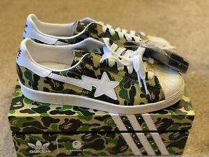 Adidas Superstar 80s x A Bathing Ape ABC Green Camo Size 9.5 US