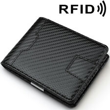 Men's Carbon Fiber Grain Slim Bifold Wallet RFID Blocking Card Holder Money Clip