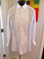 VINTAGE WHITE LAYDOWN TUXEDO SHIRT PLEATED SIZE 17 X 32 STUDS & LINKS INCLUDED