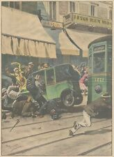 K0080 Milano - Via San Paolo - Tranvai urta auto - Stampa d'epoca - 1930 print