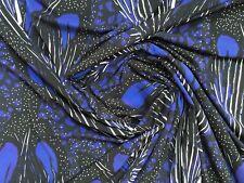 "African Print, Cotton Stretch Fabric - Black, Purple, Blue ""Vibranium,"" Per Yard"