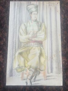 """Signed 1938 Lillian Mingay Crayon Drawing 13x8"""" 1930s Mens Costume Cossack"""