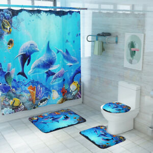 Dolphin Shower Curtain Bathroom Rug Set Non-Slip Soft Toilet Lid Cover Bath Mat
