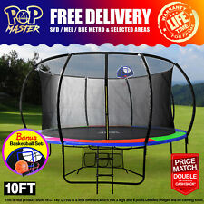 【Plenty Stock】10FT Curved Trampoline w/Ladder Safety Net Pad Cover AU
