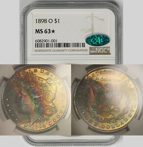 1898-O Morgan Dollar Silver $1 MS 63* Star NGC CAC Approved Color Toned