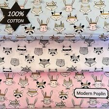 PATCHWORK NEW TRIBAL FABRIC WOODLAND 100% Cotton POPLIN Animal Material Quilting