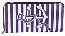 Damen Geldbörse Brieftasche Geldtasche Blau Weiß Anker Meer Maritim Quer Frauen