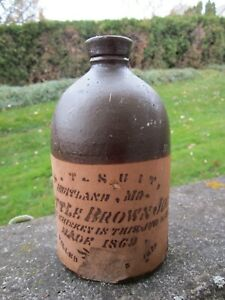 Antique 1870s S.T. Suitland Maryland LITTLE BROWN JUG Whiskey Stoneware Bottle