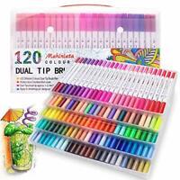 120 Colours Marker Pen Set Dual Tips Art Markers WaterColour Brush Pens for Kids