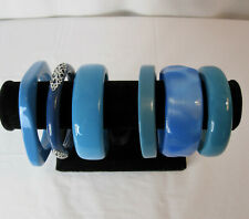 Vintage Retro Plastic Bangle Bracelets Fashion Jewelry Lot 6 Blue Teal Boho