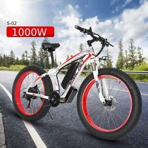 "FAT TYRE ELECTRIC BIKE 26"" 1000W 48V 13Ah High power Mountain Ebike 21 SPEED"