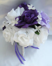 17pcs Wedding Bridal Bouquet Flowers Decorations Bride Silk Pew PURPLE LAVENDER