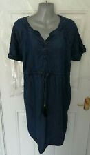 ❤ GEORGE MATERNITY Size 18 Blue Denim Shift Dress Drawstring Waist Pockets