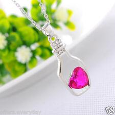 ROSE  Women's Crystal Love Heart Drift Bottle Pendant Necklace