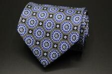 "STEFANO RICCI LUXURY COLLECTION Long Silk Tie. Blue Medallion Sun. 62"" x 4"""