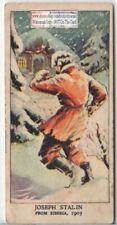 1903 Communist Leader Stalin Escapes Russian Siberian Prison 1930s Trade Ad Card
