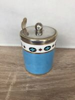 Vintage Paragon China  Mustard Pots Condiment EPNS Lid & Spoon Blue Patterned