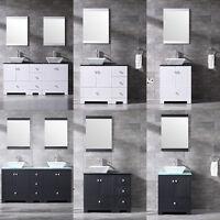 24''/36''/60'' Bathroom Vanity Cabinet w/Ceramic Sink Faucet Mirror Counter Top