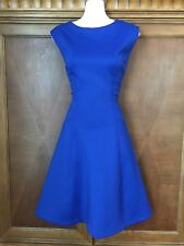 12 L Large Sandra Darren Blue A-line Flare Fitted Dress New Stretch Career Shift