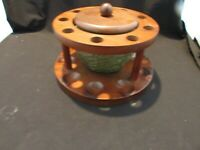 Vintage Fairfax Pipe Stand With Green Glass Humidor Holds   9  Pipes