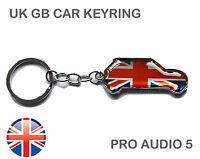 Union Jack Car Shape Keyring - Blue Red Silver Chrome Key Chain Gift British UK