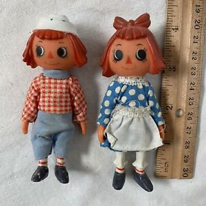 """2 Raggedy Ann & Andy 4"""" Figures Dolls PVC Plastic 80's Toys Made In Hong Kong"""