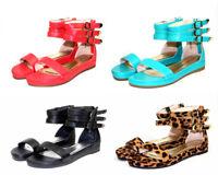 formula-04 NEW Zipper Buckle Flats Sandal Gladiator Party Beach Women's Shoes