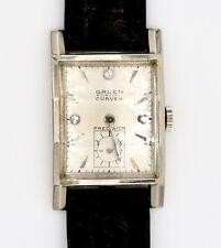 GRUEN CURVEX Precision~14K White Gold Vintage Watch~1941 Diamond Dial~Cal. 440