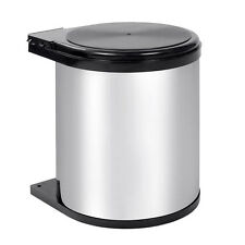 Kitchen Swing Pull Out Bin Stainless Steel Garbage Rubbish Waste Trash Can 14L