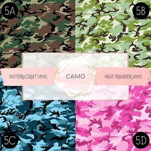 Camo Pattern Vinyl Siser HTV & Adhesive Craft Vinyl Oracal FREE SHIPPING $20+