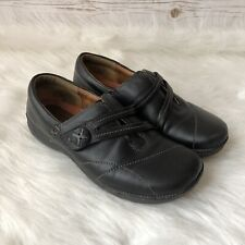 Clarks Unstructured Womens Size 6W Wide Black Leather Slip On Comfort Shoes Flat