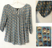Lucky Brand Small Boho Top Blue Floral Stretch Peasant Hippie Blouse