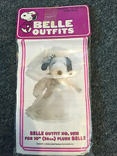 "VINTAGE PEANUTS SNOOPY BELLE 10"" PLUSH WEDDING DRESS OUTFIT NOS SEALED"