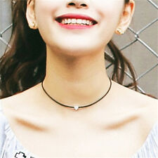 Fashion Women Faux Leather Chokers Chain Heart Necklace Vintage Jewelry Black BD